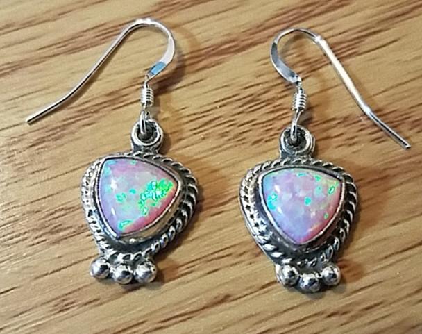 Sterling Silver Navajo Earrings - Opal