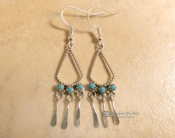 Navajo Turquoise Silver Fringe Earrings