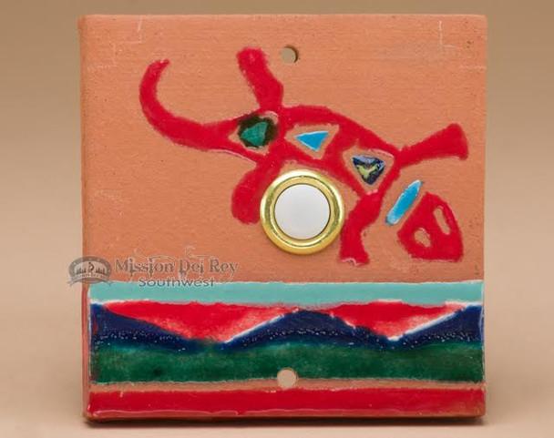 Southwest Saltillo Tile Door Bell Button - Gecko