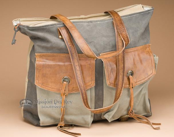 Western Canvas Shoulder Bag - Vintage Style
