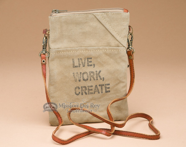 Crossbody Recycled Handbag - Live, Work, Create