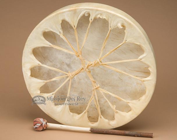 Hand painted rawhide hoop drum.