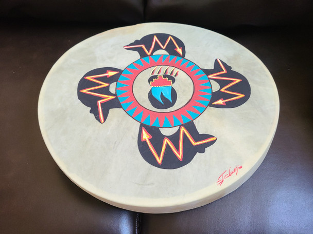 """Painted One Sided Hand Drum 16""""- Four Bears"""