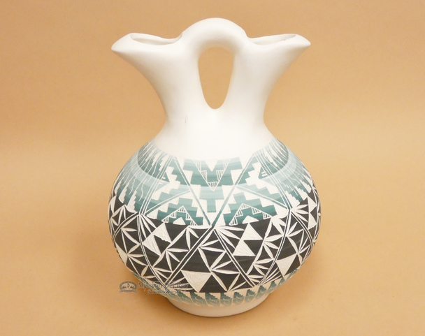 Navajo Etched Pottery Wedding Vase