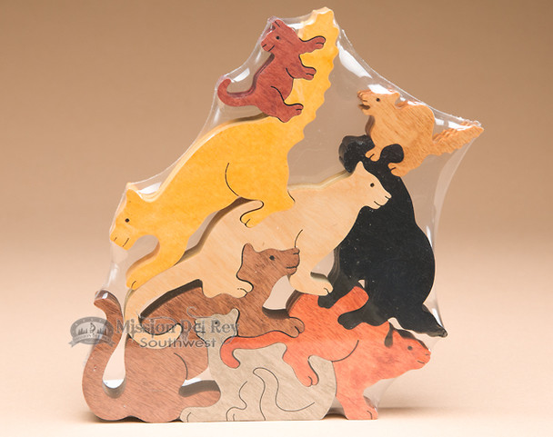 Handcrafted Amish Jig Saw Puzzle -Cats