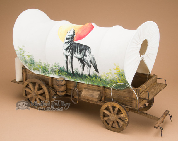 Hand Painted Covered Wagon -Wolf