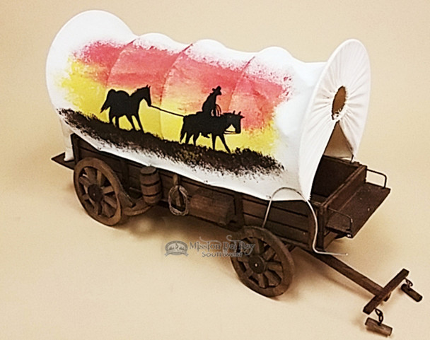 Handcrafted Covered Wagon -Cowboy Sunset