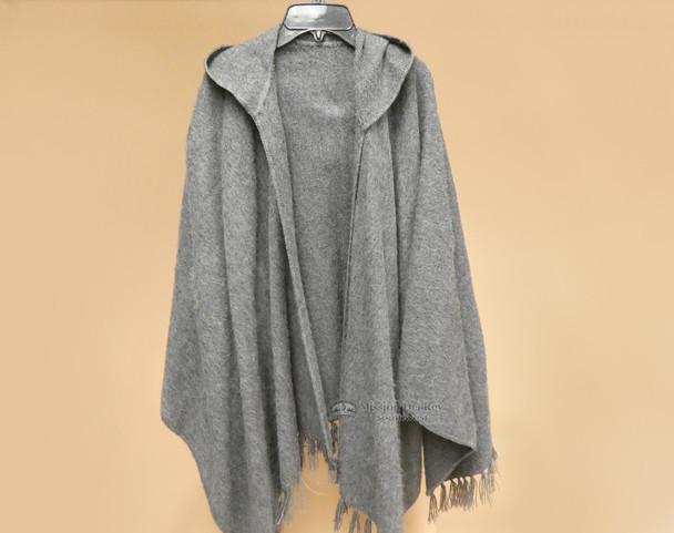 100% Alpaca Hooded Shawl - Grey