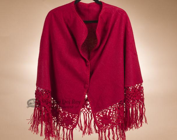 100% Alpaca Bell Cape - Red