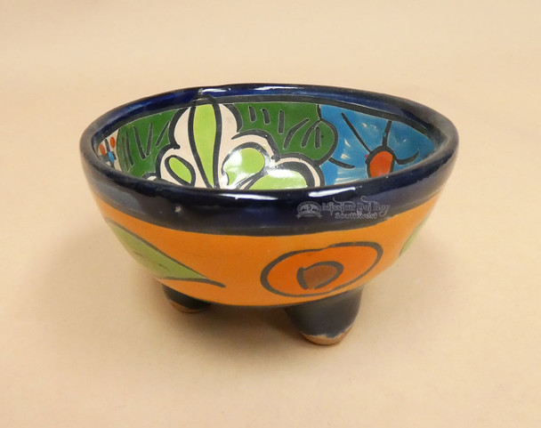 Small Mexican Footed Painted Salsa Bowl