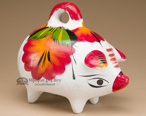 Hand Painted Mexican Pottery Piggy Bank