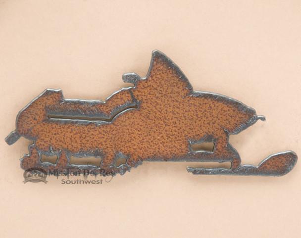 Rustic Metal Art Magnet -Snow Mobile