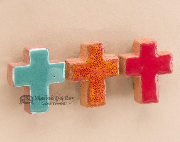 Hand Glazed Saltillo Tile Cross Magnet Set