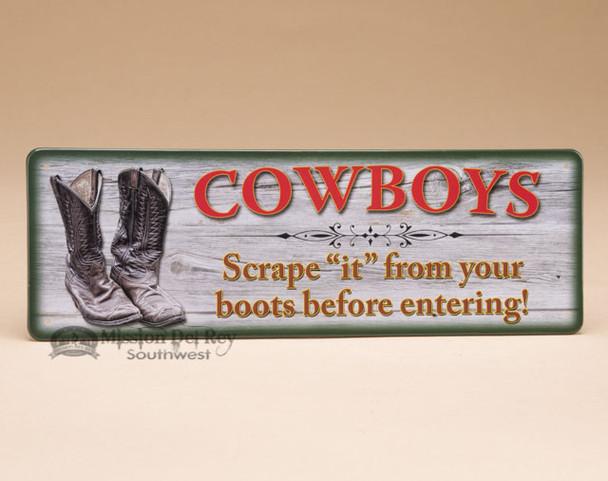 Western Rustic Tin Wall Sign - Cowboys