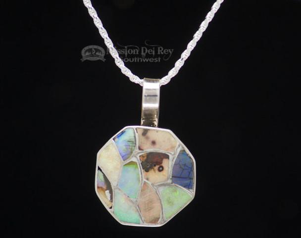 """Navajo Silver Multi-Stone Pendant Necklace 18"""""""
