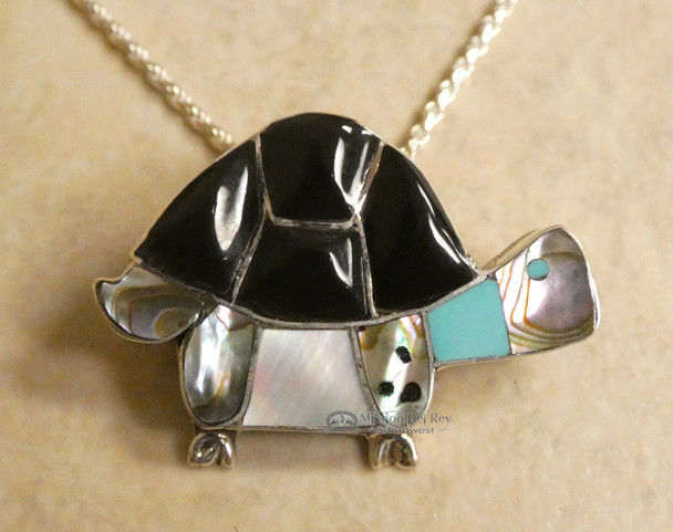 Southwest Navajo Silver Inlaid Stone Pendant Necklace 20""