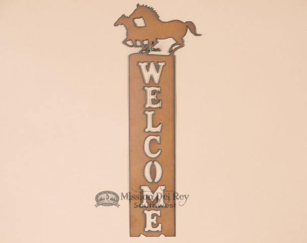 Western Running Horses Welcome Sign