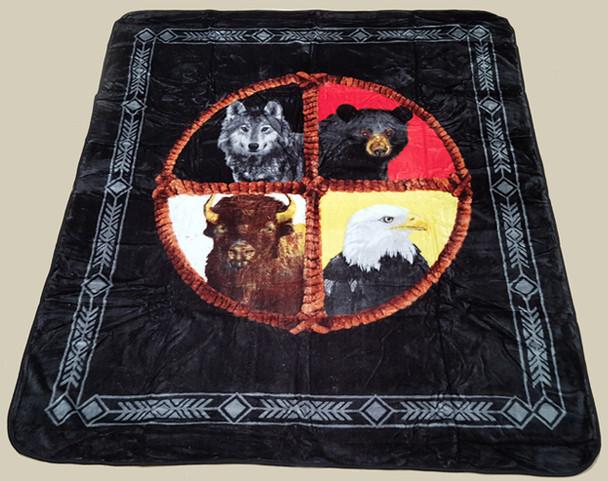 "Native Style Luxury Plush Blanket 79""x94""- Medicine Wheel (bl26)"