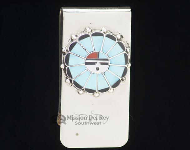 Sterling Silver Zuni Indian Money Clip - Turquoise Sunface