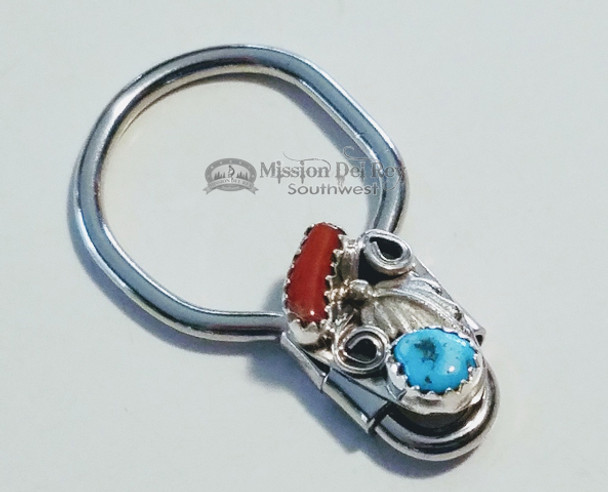 Southwestern Navajo Indian Key Fob - Turquoise and Red Coral