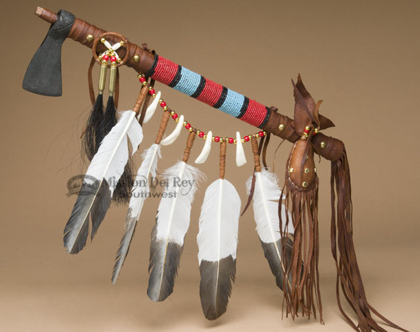 Tigua Indian Feather Draped Iron Head Tomahawk