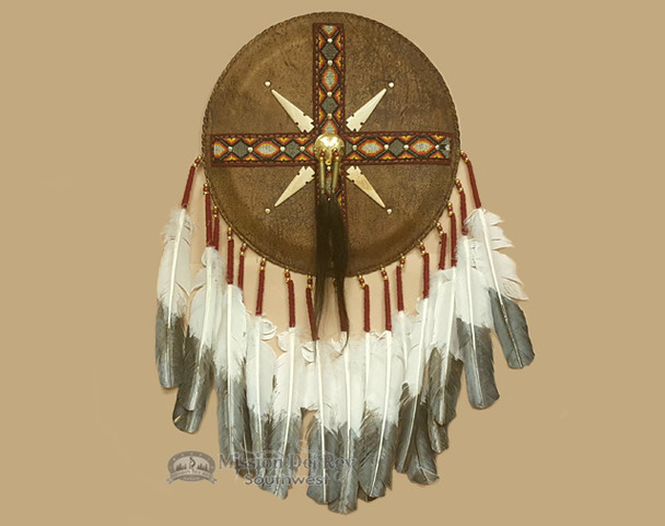 Native American Elk Skin Leather Beaded Shield