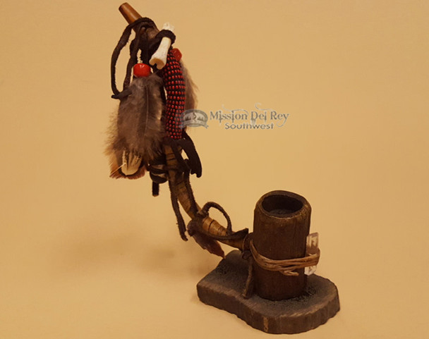 Native American Red Beaded Standing Antler Pipe
