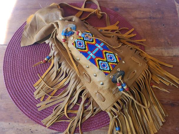"""Native American Beaded Side Bag 9"""" - Deer Skin"""
