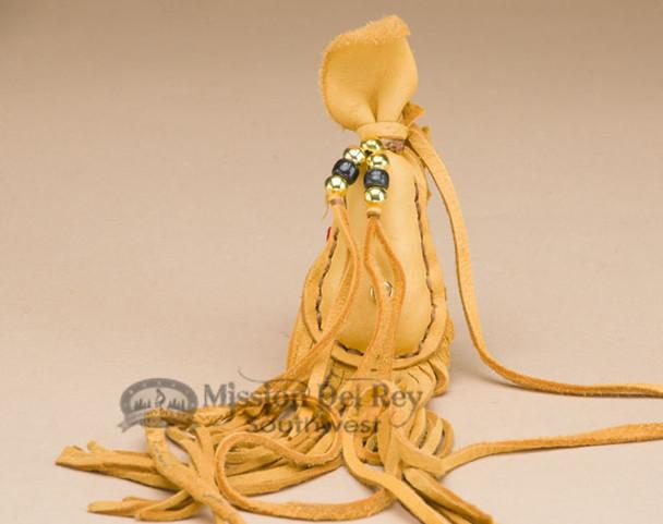 Hand Stitched Gold  Deer Skin Medicine Pouch -Tigua