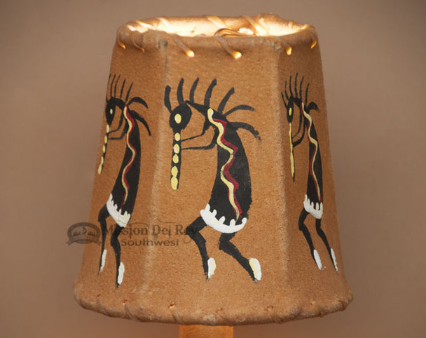 Painted Leather Chandelier Lamp Shade - Kokopelli 4""