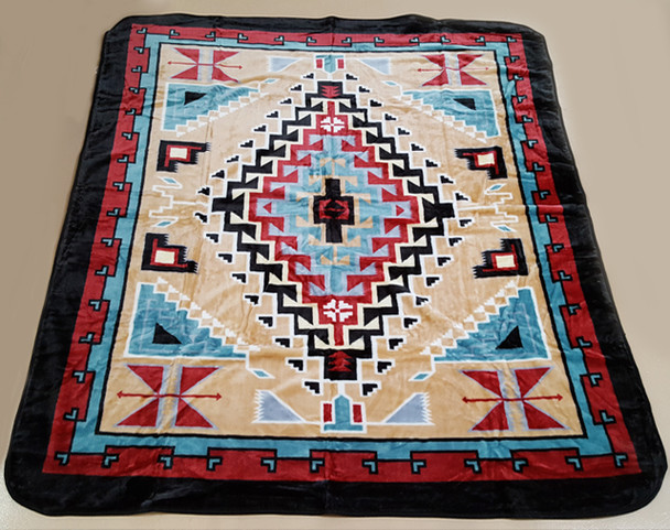 Luxury Plush Southwest Design Blanket -Navajo Tan