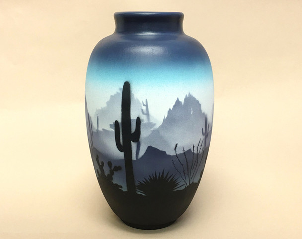 Southwestern Hand Painted Navajo Pottery Vase - Sonora Blue