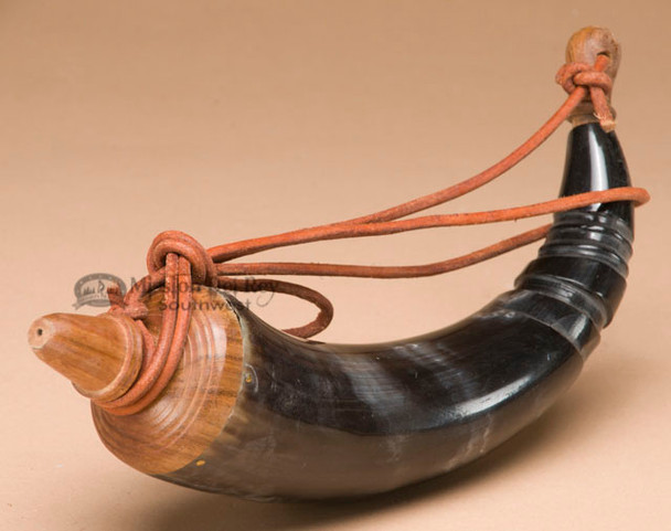 Old World Wood Ended Powder Horn