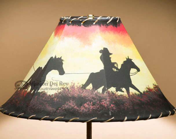 """Southwest Painted Lamp Shade 16"""" -Trail Hand"""