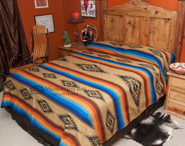 Southwestern Bedspread Saltillo Tan -Front