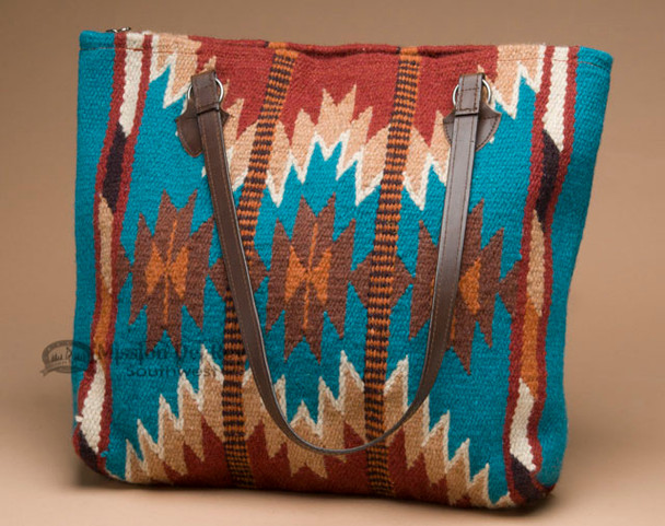 Woven Southwestern Wool Rug Purse -Turquoise Chevrons