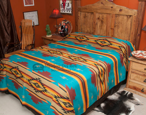 Southwestern Chevron Bedspread Turquoise QUEEN -Front
