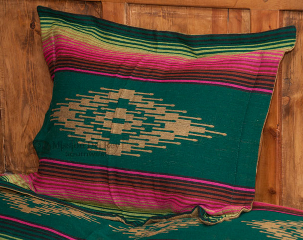 Southwestern Pillow Sham -Saltillo Green
