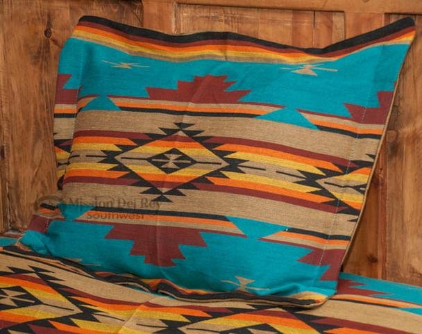 Southwestern Chevron Pillow Sham 24x28 -Turquoise