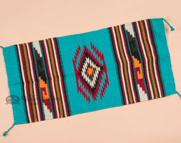 Southwestern Zapotec Style Fiesta Rug 20x40 -Turquoise
