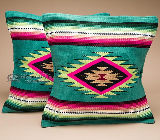 Pair Serape Southwestern Pillow Covers -Lime