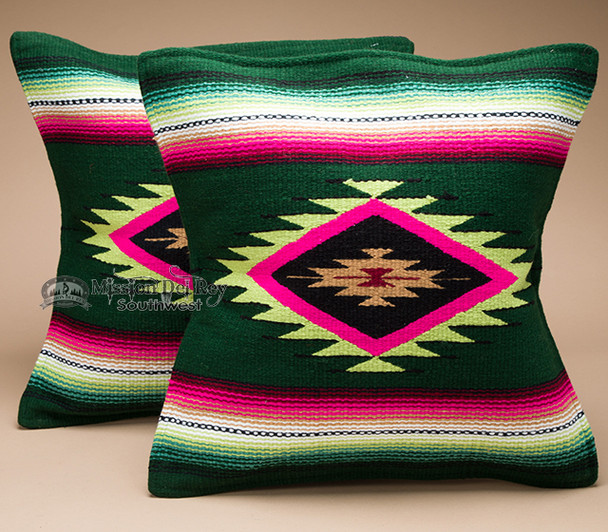 Pair Southwestern Serape Pillow Covers -Green