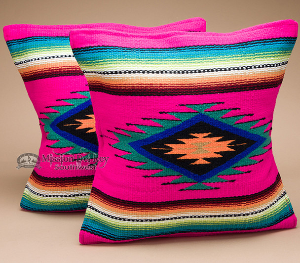 Pair Serape Southwest Pillow Covers 18x18 -Hot Pink