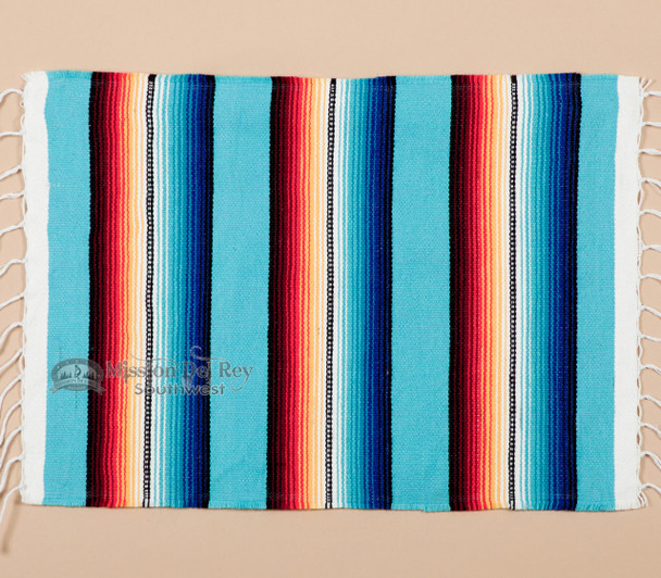 Southwestern Mexican Serape Placemat -Turquoise