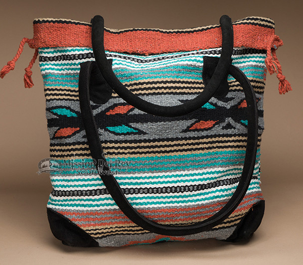 Southwestern Rug Tote Bag 17x17 -Turquoise & Corral