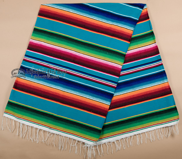 Southwestern Mexican Serape 5'x7' -Turquoise