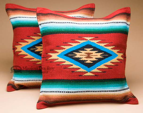 Pair of Old Style Southwestern Pillow Covers - Serape Rust