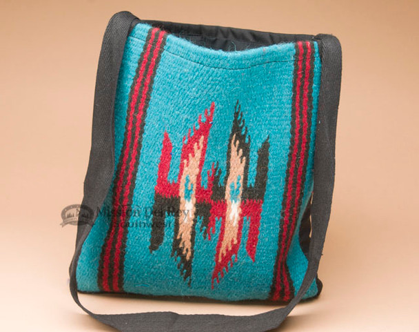 Southwest Woven Wool Tote -Teal