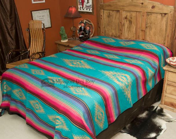 Southwestern Bedspread Saltillo Turquoise -Front