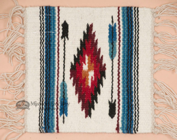 Handwoven Wool Placemat -Chimayo White Arrow